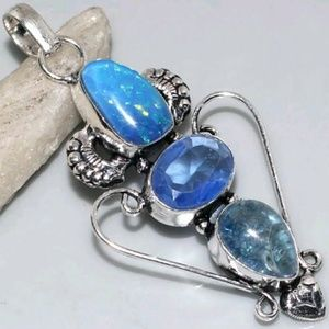 handmade Jewelry - REAL GENUINE Opalite & blue quartz Pendant w chain
